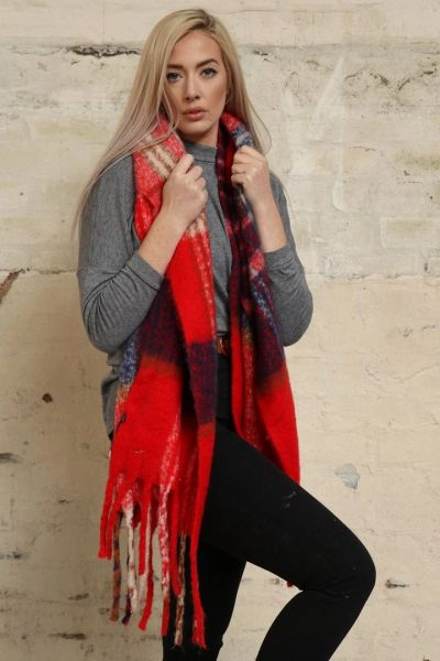 Red Navy Blue Traditional Check Tasselled Blanket Scarf