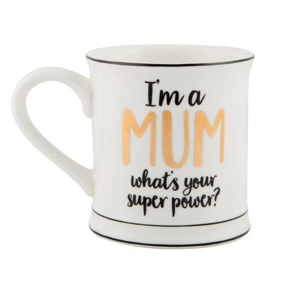 METALLIC MONOCHROME I'M A MUM MUG (boxed)