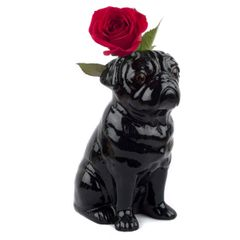 Large Pug Flower Vase in Black by Quail Ceramics