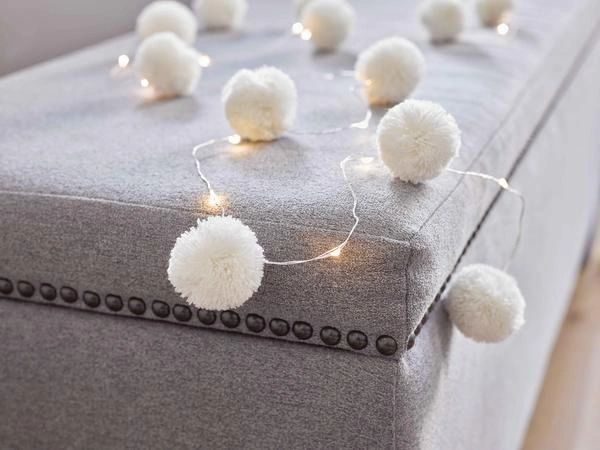 White Pom Pom led lights by Talking Tables