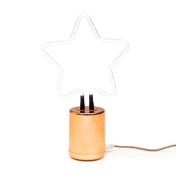 Mini Neon White Star with Rose Gold Base
