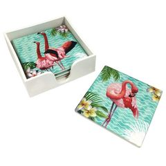 Set of 4 Ceramic Flamingo Coasters in Holder
