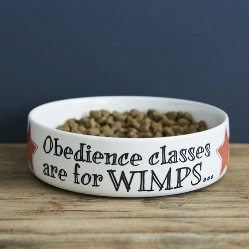 OBEDIENCE CLASSES ARE FOR WIMPS DOG BOWL - LARGE