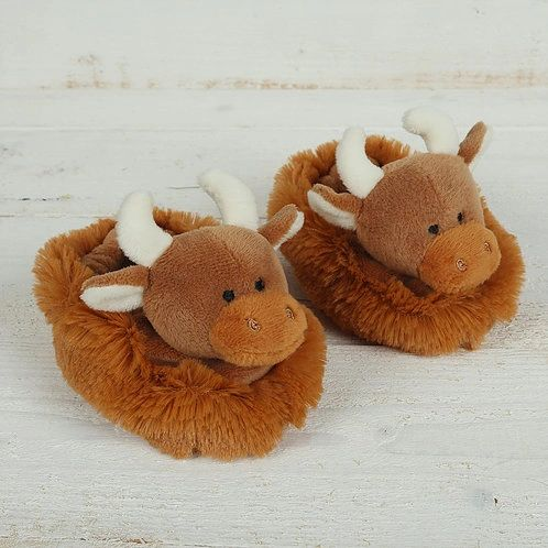 Highland Coo Baby Slippers Boxed