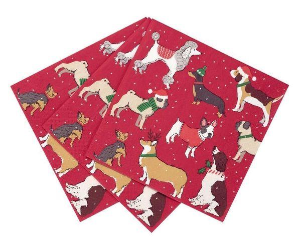 Botanical Christmas Dog Napkin