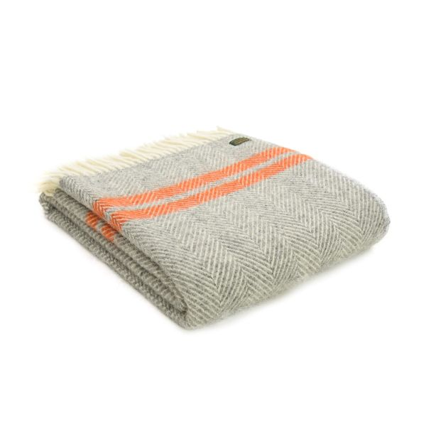 Fishbone 2 Stripe Grey & Pumpkin