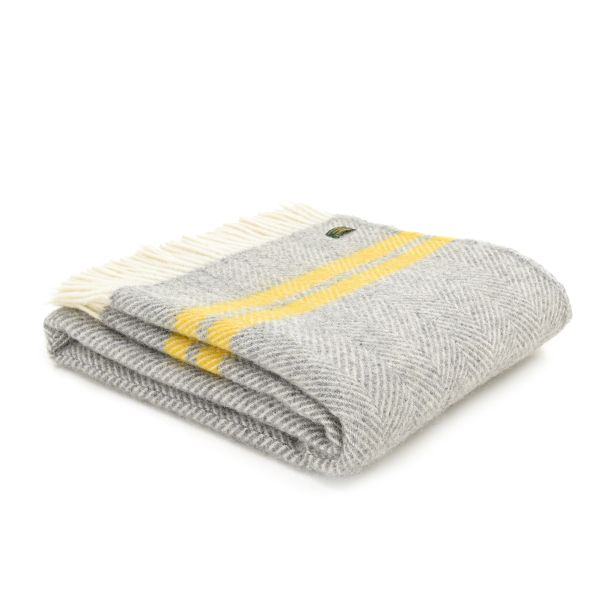 Fishbone 2 Stripe Grey & Yellow