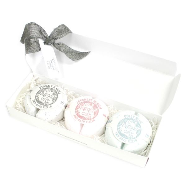 Agnes + Cat Bath Fizzer Gift Box - Sea Salt & Moss + Japanese Bloom + Dolly Blue