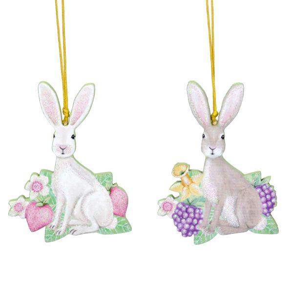 Wooden Hare Hanging Decorations - Choose