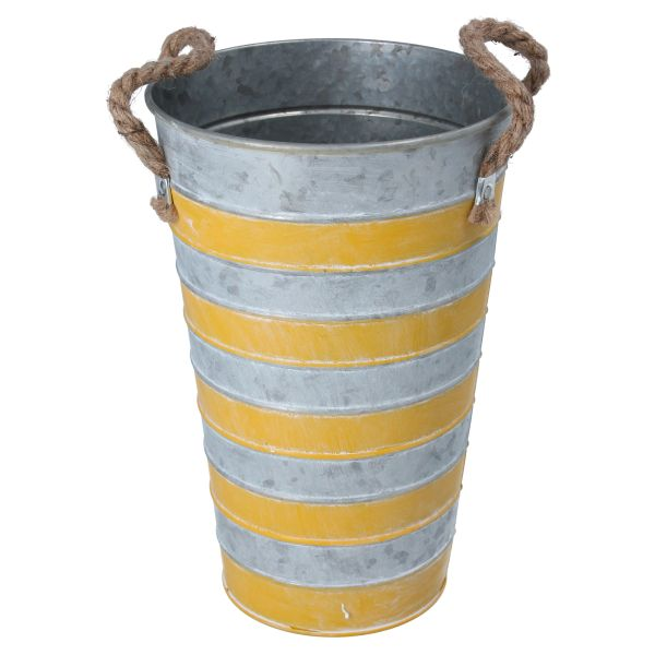 Zinc Yellow Striped Flower Pot with Rope Handles