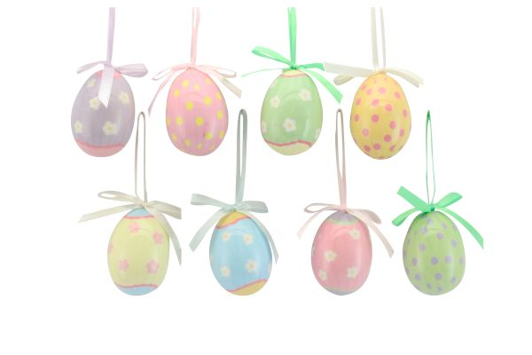 Set of 8 Easter Egg Hanging Decorations