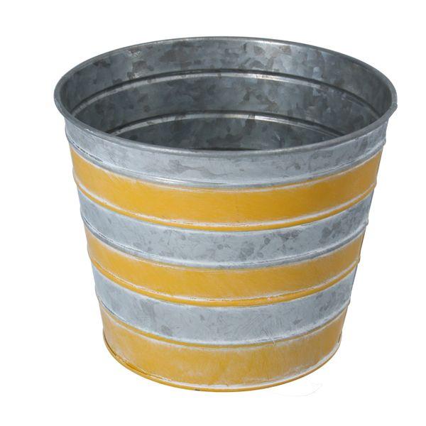 Yellow Striped Zinc Pot