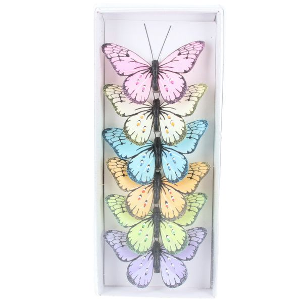 Box of 6 Clip Butterfly Decorations