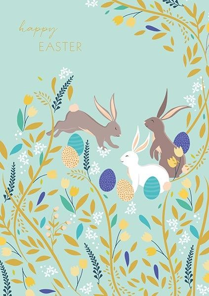 Happy Easter Individual Card Bunnies & Eggs