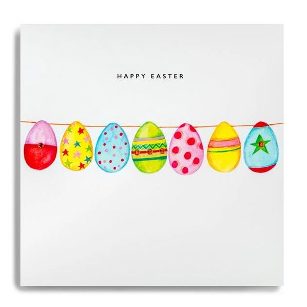 Happy Easter Line of Easter Eggs Individual Card