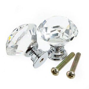 Small Zinc Alloy Crystal Drawer Knob Glass