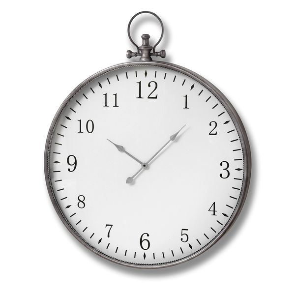 Silver Pocket Watch Wall Clock 80cm