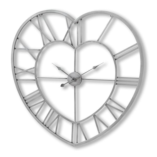 Silver Heart Skeleton Wall Clock 89cm