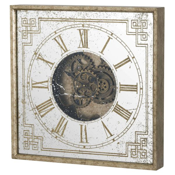 Mirrored Square Framed Clock with Moving Mechanism 60cm