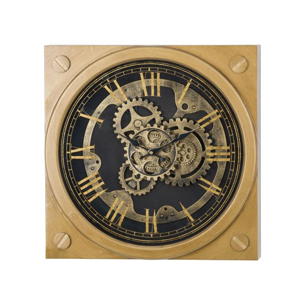 Square Gold Moving Mechanism Clock 45cm