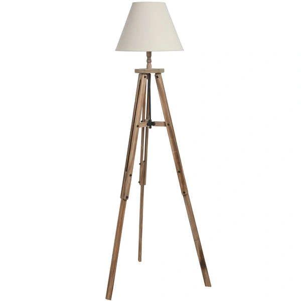 Large Wooden Tripod Lamp