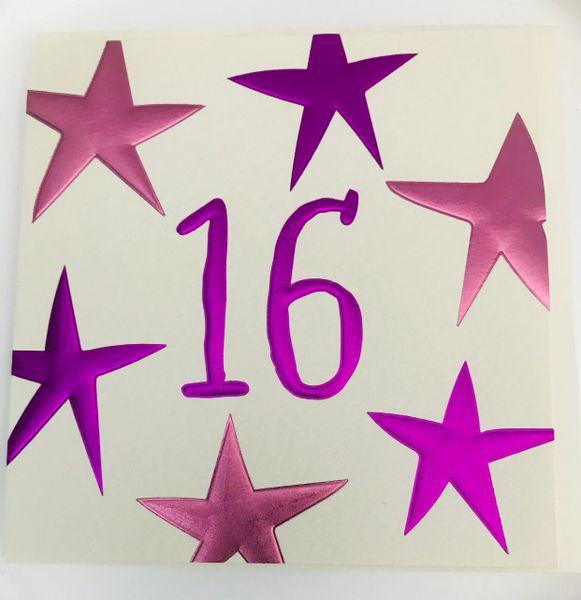 16th Birthday Card Pink by Wendy Jones-Blackett