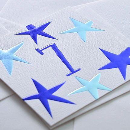 7 Birthday Card Blue by Wendy Jones-Blackett