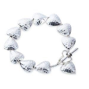Hammered puff heart bracelet