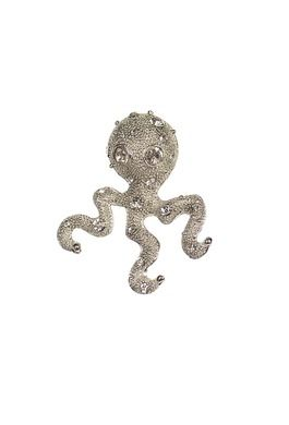 Octopus Silver/Clear Brooch