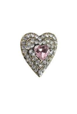 BR - Jewelled Heart Brooch - Rose/Clear
