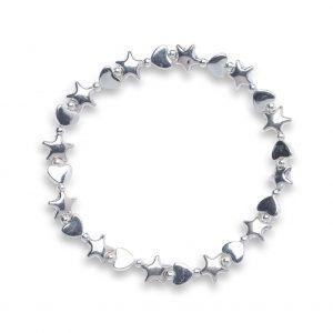 Alternate star and heart bracelet