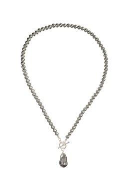Pearls W/Droplet & T Bar Fastening - Grey