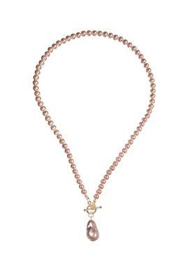 Pearls W/Droplet & T Bar Fastening - Vint Pink