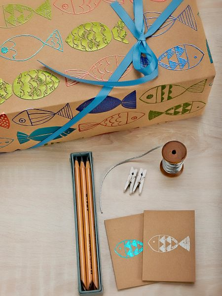 Fish - Colourful Foil on brown paper Gift Wrap