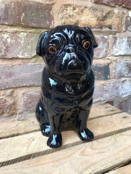 Large Pug Flower Vase in Black by Quail Ceramics