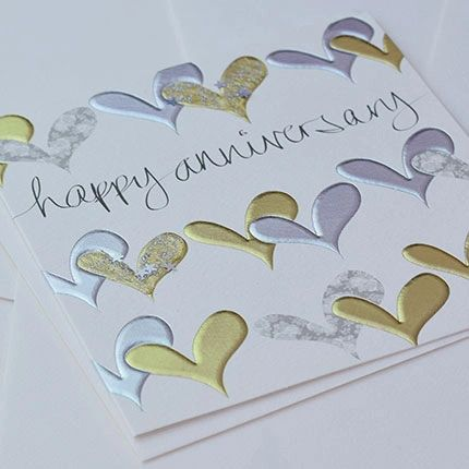 Happy Anniversary Gold/Silver Hearts Card