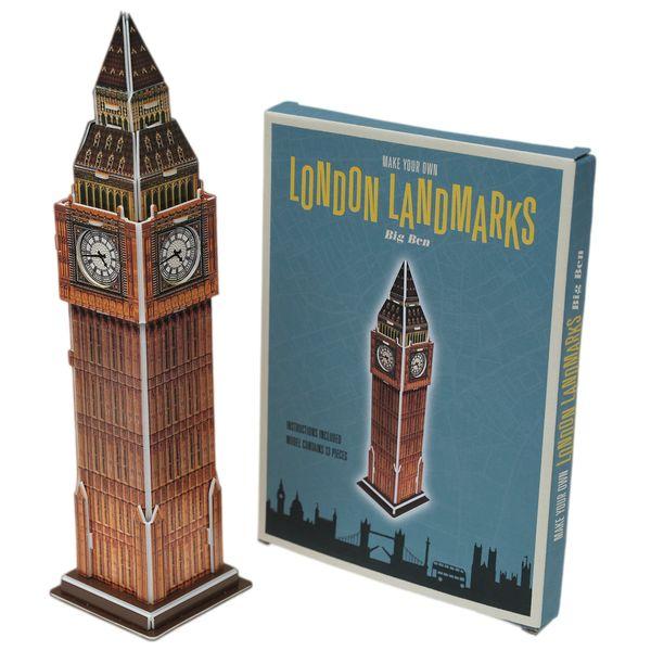 Set of 3 London Landmark Puzzles - Big Ben, London Bus & Tower Bridge