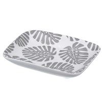 Ceramic Dish 10cm - White/Grey Palm Leaves