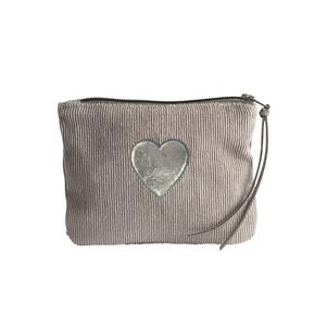 Corduroy heart purse