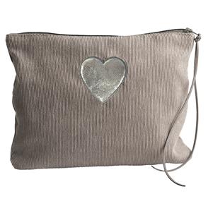 Corduroy heart make-up bag