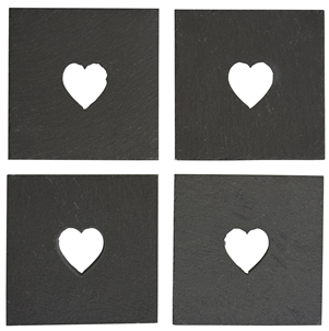 Set/4 slate heart cut-out coaster
