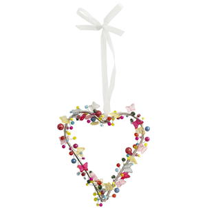 Bright beaded heart decoration with butterflies