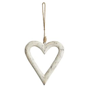 Antique white carved wood open heart