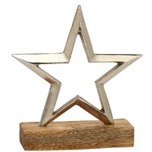 Large silver metal star on base