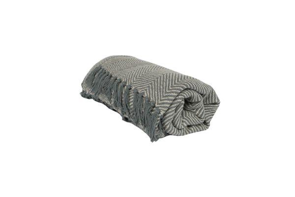 Cotton Throw 1.5m - Light Grey/Chevron