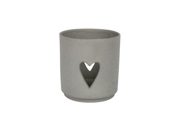 Ceramic Nite Lite 9cm - Grey/Heart Cutout