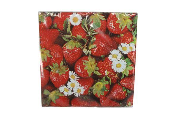 Pack/20 Paper Napkins - Strawberries