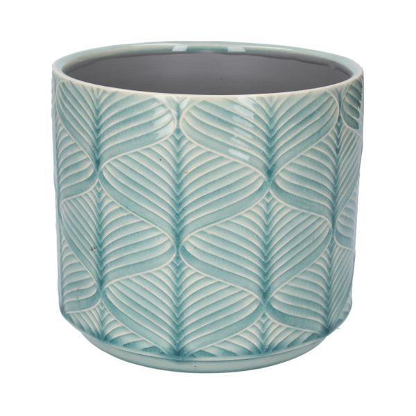 Blue Wavy Ceramic Pot Cover, Med