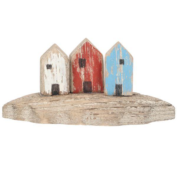 Wood Orn 7cm - Beach Hut Trio