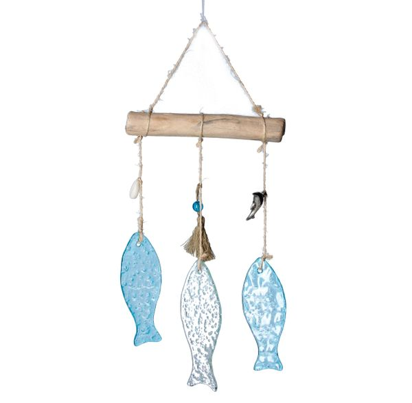 Glass Orn 24cm - Trio of Hanging Glass Fish
